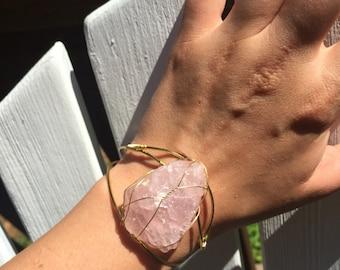 Rose Quartz Cuff Bracelet