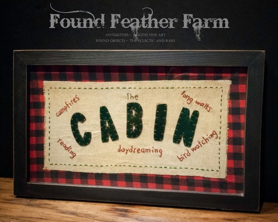 Vintage Stitchery with a Cozy Cabin Theme Framed