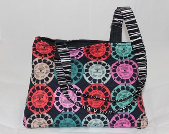 Handmade Quilted Purse/Handbag with zipper closure, Retro View Master fabric