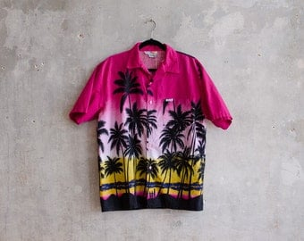 Vintage Windswept Palm Tree Button Up