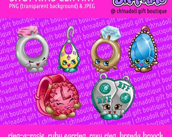 Shopkins clipart   jewellery   ring-a-rosie brenda brooch ticky tock chelsea charm   jpeg and png   instant download   DIY printable