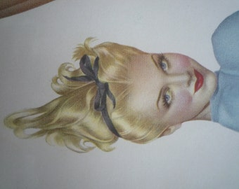 Alberto Vargas pin-up WWII 1943 on canvas pinup