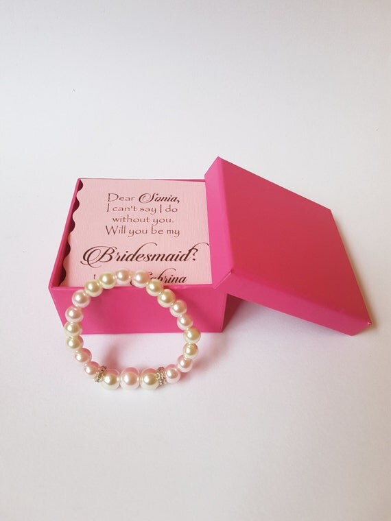 BRACELET and CARD for Bridesmaids gift box personalized pearl bracelet bridesmaid jewelry set Bridesmaids Gift  Card SET