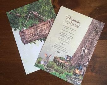 Springtime Woodland Wedding Invitation A5