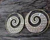 Tribal Spiral  Earrings, Brass Earrings,Gypsy Jewelry Bohemian Earrings, Boho Jewelry, Hoop Earrings, Indian Earrings