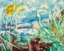 Encaustic 9, original, handmade wax painting, abstract on card