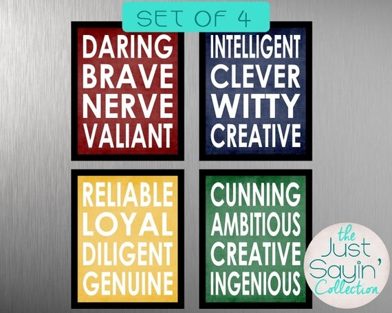 set of four harry potter hogwarts house 8 x 10 prints traits. Black Bedroom Furniture Sets. Home Design Ideas