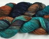 Hand Dyed Sock Yarn, fingering weight, Superwash Merino and Nylon, New Multi-Colorway ROCKY COAST