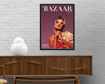 Bazaar cover vintage poster 1942 magazine print renovated Harpers Bazaar Retro journal wall art Modern design decor Best price art