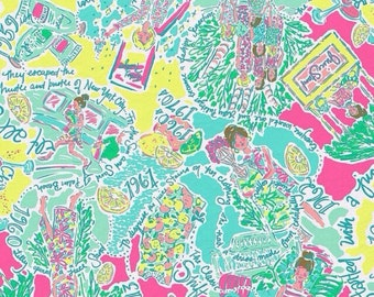 lilly pulitzer fabric square patches in the beginning 5x5 6x6 sorority greek letters