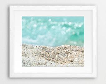 Beach Print, Sand Photo, Coastal Wall Art, Sand And Sea Print, Turquoise Aqua Art, Water Photo, Beach Photography, Modern Art, Printable Art