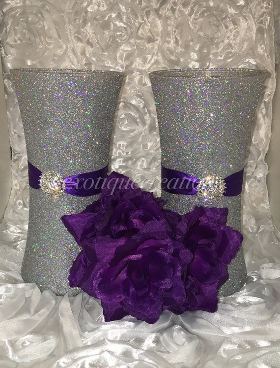 Vase centerpieces set of silver bling with purple