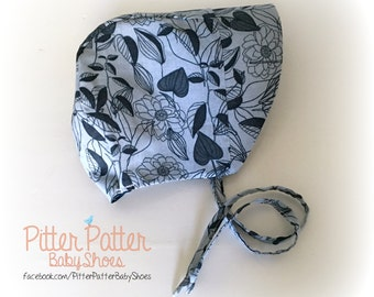 Navy Blue Baby Bonnet - Summer Baby Bonnet - Spring Baby Bonnet - Baby Sun Hat - Baby Shower GIft - Blue Polka Dots -  Baby Girl Gift