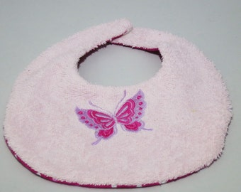 Bib Butterfly baby sponge and cotton pink pea.