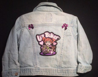 Baby Girl Jean jacket-12-18M Jean Jacket-Lil Biker-Harley Girl-Mommy Rides Bikes-Custom any size-Motorcycle Jean Jacket-Girls Purple jacket