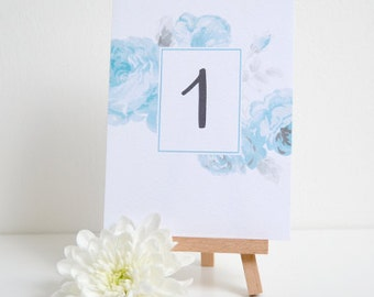 Floral Table Numbers With Mini Easel