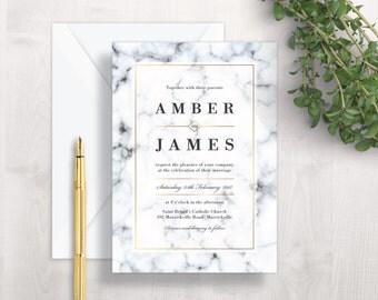 Marble Wedding Invitation | Printable Wedding Invitation | Elegant Wedding Invitation | Modern Wedding Invitation | Black White Gold