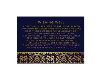 Printed Wishing Well Cards | Navy Blue & Gold Damask | Wedding Invitation Stationery Suite