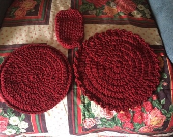 Handmade set of 3 Potholder, Hotpad, and can cozie.................