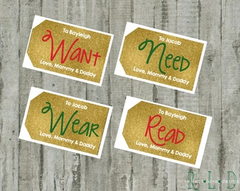 Want, Need, Wear, Read Digital Printable Personalized Gold Gift Tags