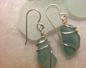 Icy Blue Sea Glass Earrings