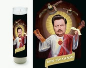 Ron Swanson Prayer Candle - Parks and Recreations - Fan Art - Saint Candle