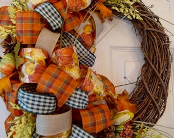 Fall Grapevine Wreath with Autumnal Accents and Bows; Autumn Wreath Decor; Fall Door Decor; Orange Yellow Green Wreath with Pumpkins Corn