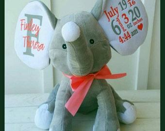 Birth Stats Personalized Elephant