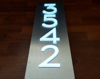 "Custom Aluminum & Acrylic LED House Numbers Sign - Vertical, 4"" Tall Numbers"