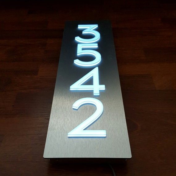 Custom aluminum acrylic led house numbers sign vertical Led house numbers