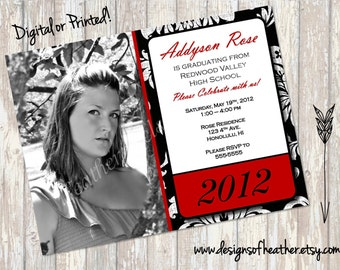 Black Damask Digital Graduation Announcement