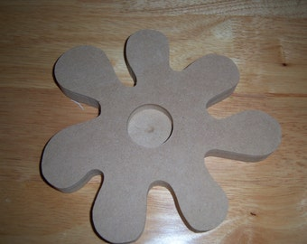 Set of two wood shapes to paint or mosaic or decoupage-flower tealight holder and oval mirror.