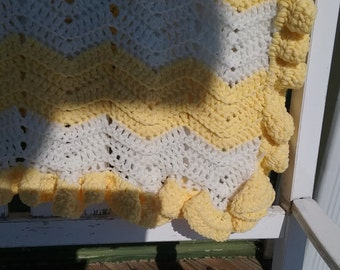 Crocheted Yellow and White Baby Blanket