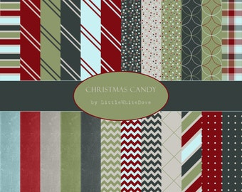 """Digital Paper Pack - """"Christmas Candy"""" - 24 Christmas/holiday inspired 12x12"""" digital scrapbooking papers"""