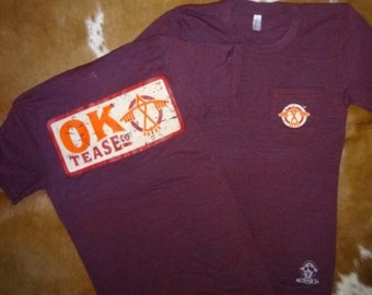 OK Tease Patch Tee-Cranberry