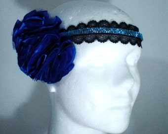 Satin flower embroidery-lace hair ribbon