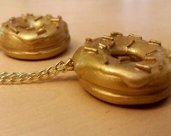 Golden Sprinkle Donut Miniature Food Necklace Charm