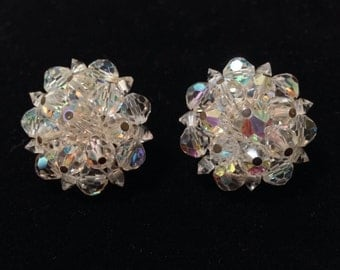 Vintage AB Cluster Style Clip Back Earrings