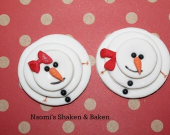 Fondant Edible Cupcake Topper Decoration Christmas Snowman
