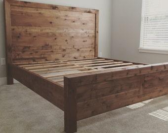 Minimalist Cedar Headboard and Footboard Set