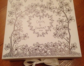 Cherry Blossom Hand Illustrated Keepsake Box. White with Ribbon.