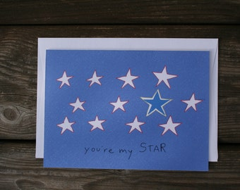 Illustrated card You are my star