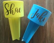 Beach Spikers, personalized beach spiker, newlywed gift, wedding gift, gift set, couple beach spiker, honeymoon, honeymoon gift, name