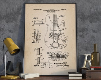 Electric Guitar Patent Print, Rock Band Instrument, Guitar Poster, Studio Decor - DA0394