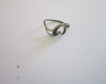 Turquoise & Silver Inlaid Ladies Ring