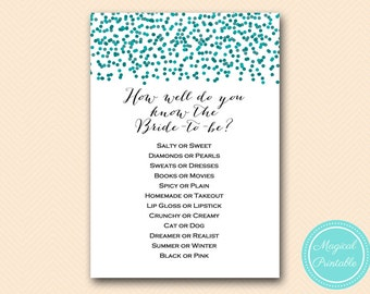 How Well do you know the Bride Game, Teal Dots, Teal Bridal Shower Game, Teal Bachelorette Game, Printable Game, Download BS434