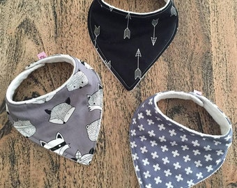 Heaven Sent Handmade Bandana Bib set of 3 baby boy black white grey arrows geometric crosses cross monochrome fox bear