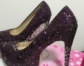purple rhinestone pumps women shoes, platform high heels-custom closed toe / open toe heels for woman