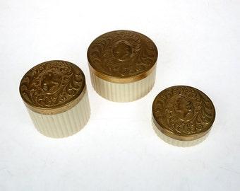 SaLE!  Vintage Cameo Vanity Set - Three Piece Pot Cream Set -  Makeup Powder Jar - Vintage Celluloid Vanity Set Beige and Gold