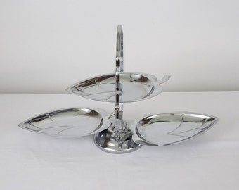 3 Tier Metal Tray - Serving Tray - Metal Serving Tray - Silver Plated Serving Tray - Three Tier Cake Display - Weddings